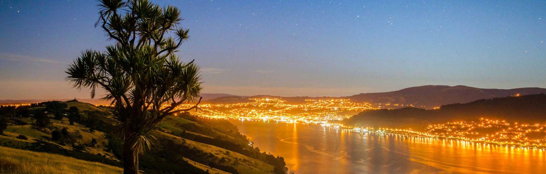 Cityscape Otago Peninsula at night